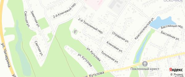 Тополиный 1-й переулок на карте Белгорода с номерами домов