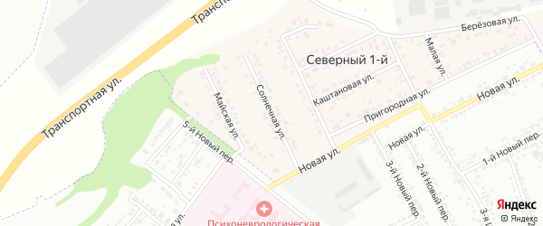 Солнечная улица на карте Северного 1-й поселка с номерами домов