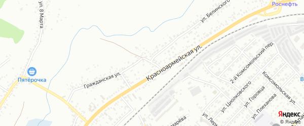Красноармейский 1-й переулок на карте Белгорода с номерами домов