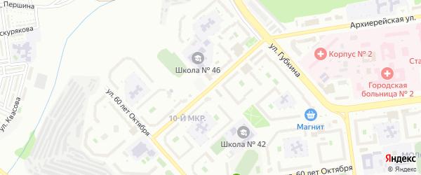 Спортивная улица на карте Белгорода с номерами домов