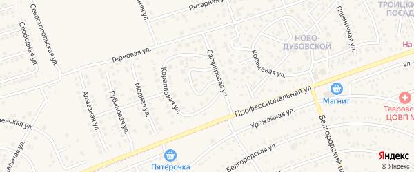 Коралловый переулок на карте поселка Дубового с номерами домов