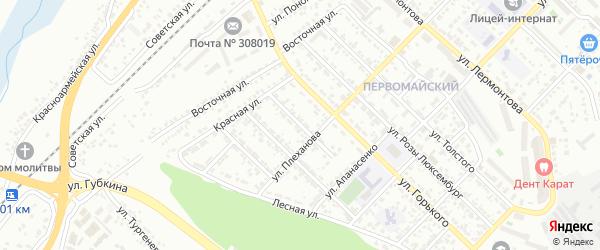 Переулок Плеханова на карте Белгорода с номерами домов