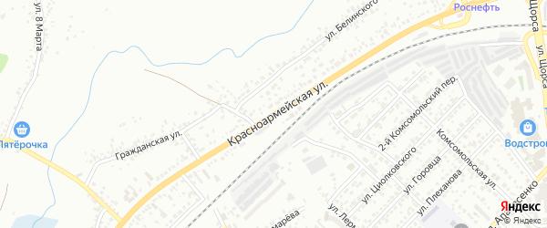 Красноармейская улица на карте Белгорода с номерами домов