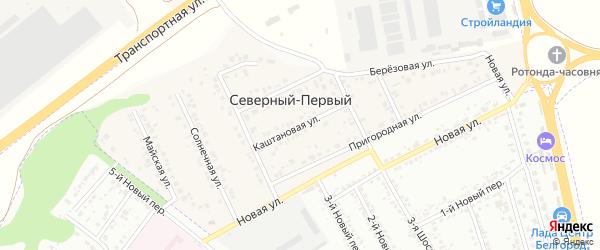 Каштановая улица на карте Северного 1-й поселка с номерами домов
