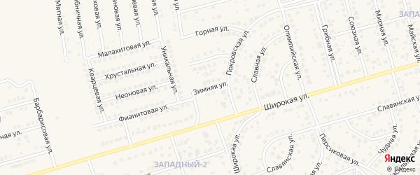 Зимняя улица на карте поселка Дубового с номерами домов