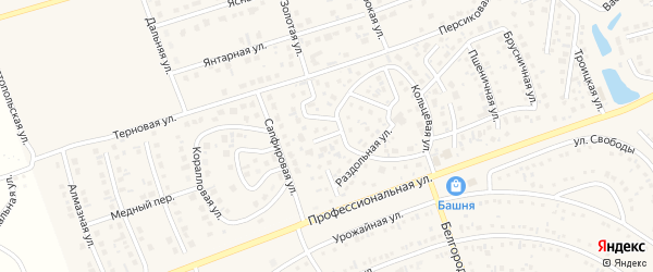 Кольцевой переулок на карте поселка Дубового с номерами домов