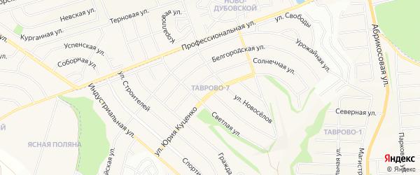 Карта Таврово 7-й микрорайона в Белгородской области с улицами и номерами домов