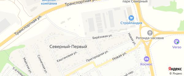 Березовая улица на карте Северного 1-й поселка с номерами домов