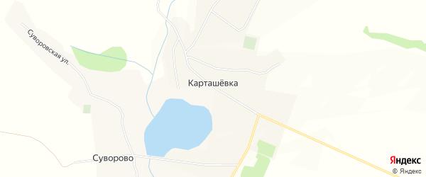 Карта села Карташевки в Белгородской области с улицами и номерами домов