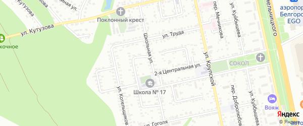 Школьная улица на карте Белгорода с номерами домов