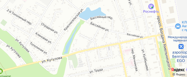 Кутузова 2-й переулок на карте Белгорода с номерами домов