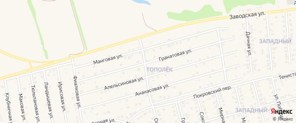Гранатовая улица на карте поселка Дубового с номерами домов
