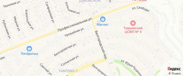 Белгородская улица на карте Таврово 7-й микрорайона с номерами домов