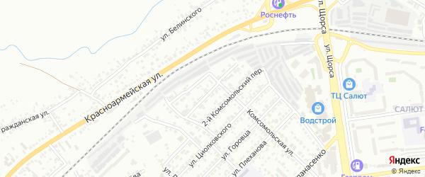 Комсомольский 1-й переулок на карте Белгорода с номерами домов