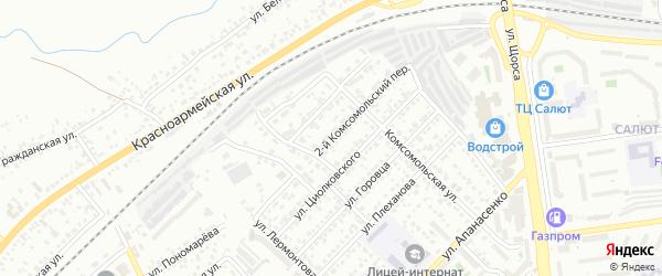 Комсомольский 2-й переулок на карте Белгорода с номерами домов