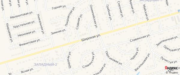 Широкая улица на карте поселка Дубового с номерами домов