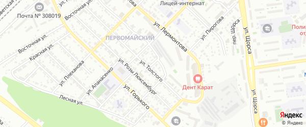 Лермонтова 2-й переулок на карте Белгорода с номерами домов