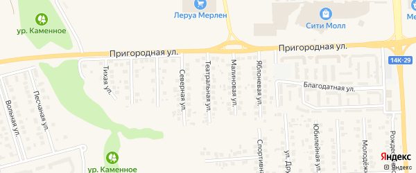 Театральная улица на карте поселка Дубового с номерами домов