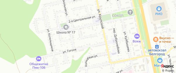 Центральный 1-й переулок на карте Белгорода с номерами домов