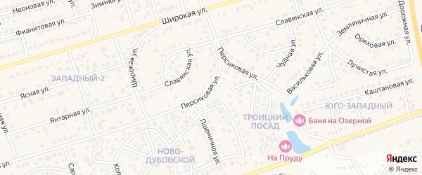 Персиковая улица на карте поселка Дубового с номерами домов