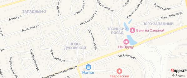 Пшеничная улица на карте поселка Дубового с номерами домов