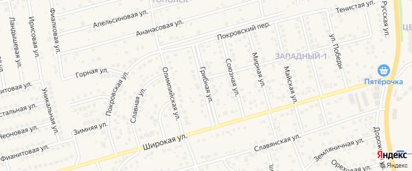 Грибная улица на карте поселка Дубового с номерами домов
