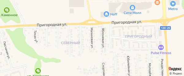 Малиновая улица на карте поселка Дубового с номерами домов