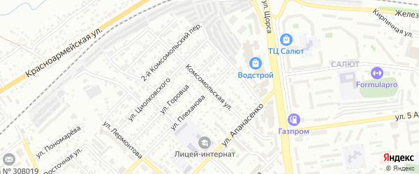 Комсомольская улица на карте Белгорода с номерами домов
