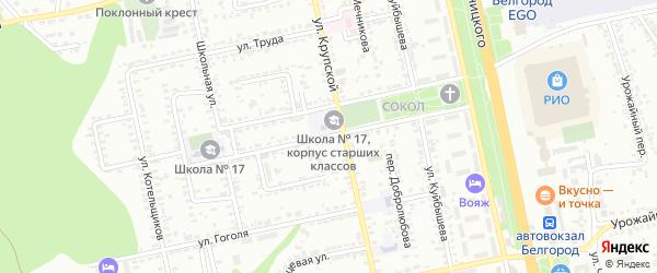 Центральная 1-я улица на карте Белгорода с номерами домов