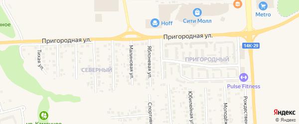 Яблоневая улица на карте поселка Дубового с номерами домов