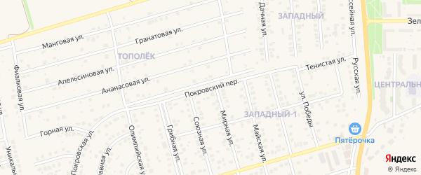 Покровский переулок на карте поселка Дубового с номерами домов