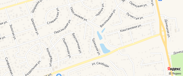 Отрадная улица на карте поселка Дубового с номерами домов