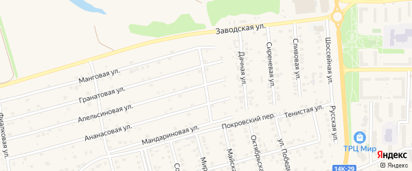 Листвиничная улица на карте поселка Дубового с номерами домов