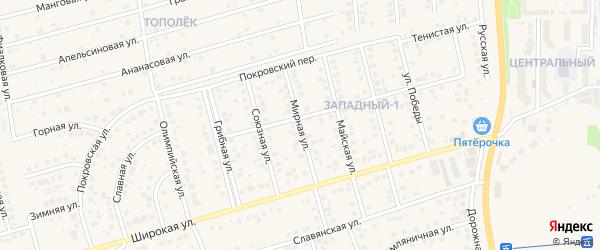 Мирная улица на карте поселка Дубового с номерами домов