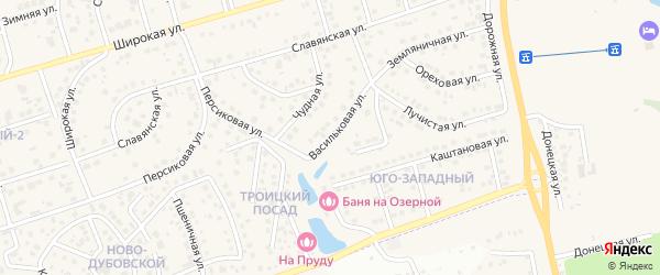 Васильковая улица на карте поселка Дубового с номерами домов