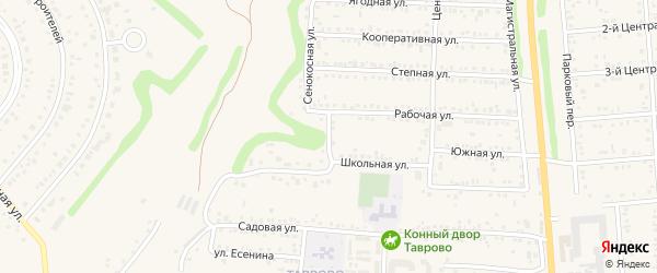 Школьный переулок на карте Таврово 1-й микрорайона с номерами домов