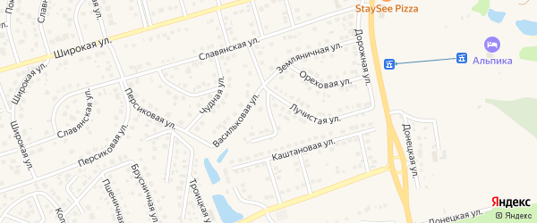 Озерная улица на карте поселка Дубового с номерами домов