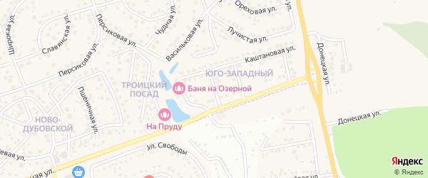 Каштановый 3-й переулок на карте поселка Дубового с номерами домов