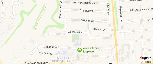 Школьная улица на карте Таврово 1-й микрорайона с номерами домов