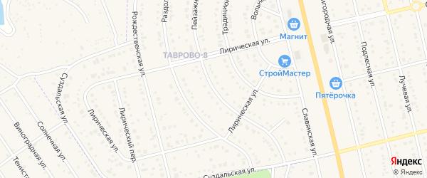 Пейзажная улица на карте Таврово 8-й микрорайона с номерами домов