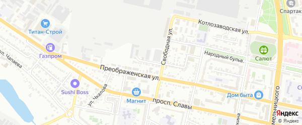 Свободный переулок на карте Белгорода с номерами домов