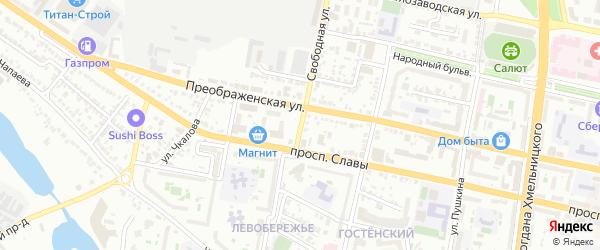 Свободная улица на карте Белгорода с номерами домов