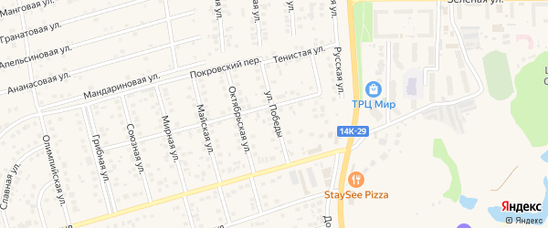 Улица Победы на карте поселка Дубового с номерами домов