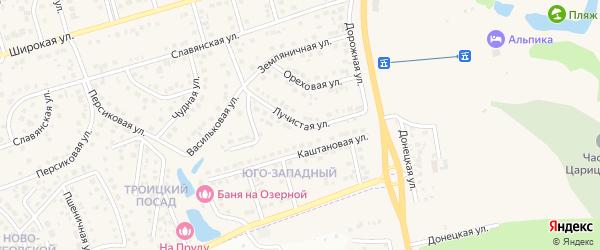 Лучистая улица на карте поселка Дубового с номерами домов