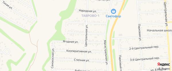 Центральная улица на карте Таврово 1-й микрорайона с номерами домов