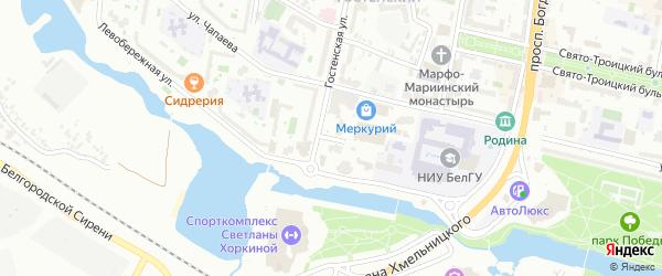 Гостенский переулок на карте Белгорода с номерами домов