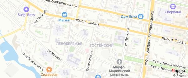 Гостенская улица на карте Белгорода с номерами домов