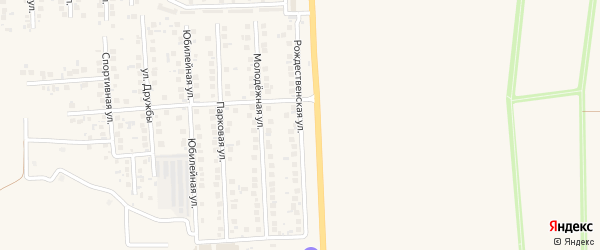 Рождественский переулок на карте поселка Дубового с номерами домов