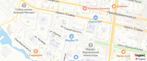 Улица Озембловского на карте Белгорода с номерами домов