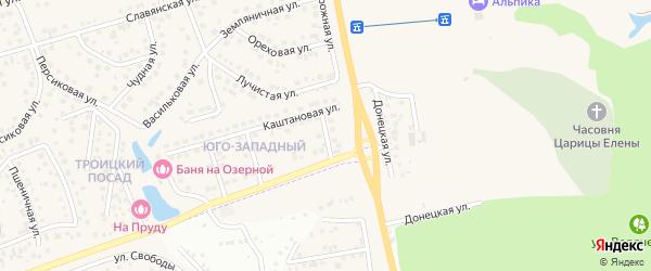 Каштановый 1-й переулок на карте поселка Дубового с номерами домов